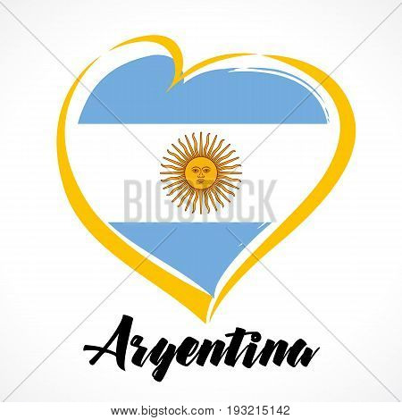 Love Argentina emblem colored. Argentina Independence Day vector design colorful shield in heart color national flag and text