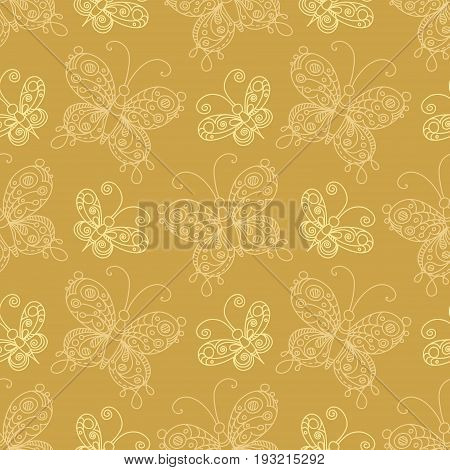 Vector Seamless Pattern Of Butterflies.