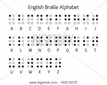 English Braille alphabet letters. Braille is a tactile writing system used by people who are blind or visually impaired. Vector illustration.