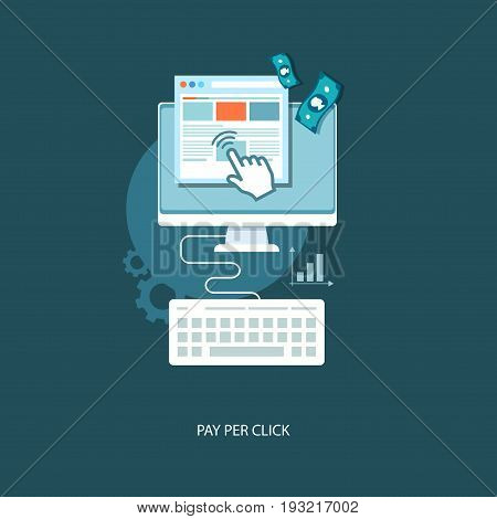 Pay per click flat illustration with icons.Eps 10