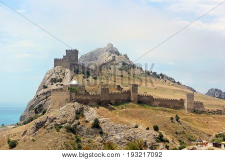 Genoese fortress in Sudak in the Crimea in summer Sunny day.