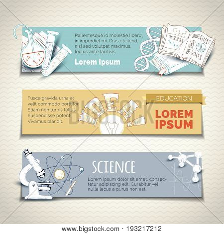 Vector Set Of Science And Education Horizontal Banners.
