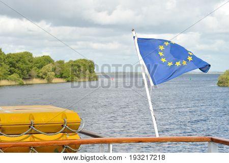 Galway  River Corrib, Connacht, Ireland June 2017,euro Flag   In A Boat.