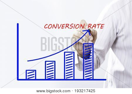 """""""CONVERSION RATE"""" text with hand of young businessman point on virtual graph Blue line and bar showing on increasing with background -business finance salary crisis and development concept"""