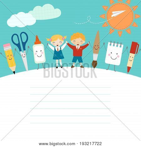 Schoolboy, schoolgirl and funny cartoon school supplies.