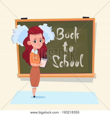 Back To School Small Girl Standing Over Class Board Schoolgirl Education Banner Flat Vector Illustration