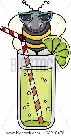 Scalable vectorial image representing a fresh lemonade and bee with sunglasses, isolated on white.