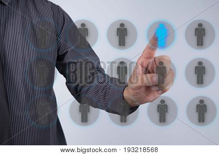 Human resources officer choose employee standing out of the crowd. Leadership concept