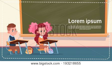 School Sall Girl And Boy Sitting At Desk Over Class Board Schoolgirl And Schoolboy Education Banner Flat Vector Illustration