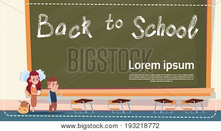 Back To School Small Girl And Boy Standing Over Class Board Schoolgirl And Schoolboy Education Banner Flat Vector Illustration