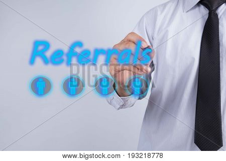 Businessman writing drawing on the screen and empty space