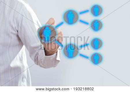 Businessman drawing Referral system concept. business network concept