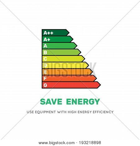 Energy efficiency rating vector icon flat style isolated on white background.