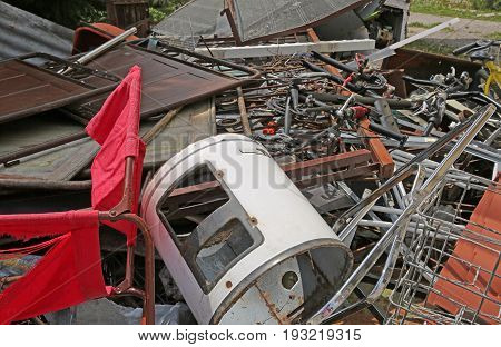 Dump Of Ferrous Materials In The Recycler For The Collection Of