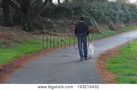 Young man and White Swiss Shepherd dog for a walk