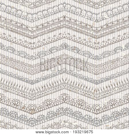 Vector Vintage Seamless Pattern Of Lacy Crochet Edges.