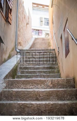 Narrow Stone Stairs In The Old Town
