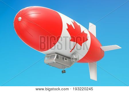 Airship or dirigible balloon with Canadian flag 3D rendering isolated on white background
