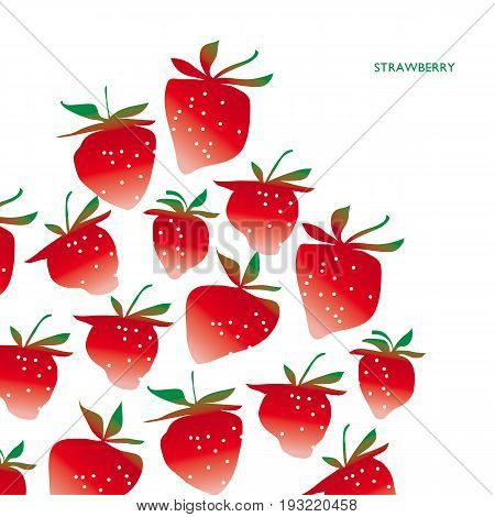 strawberry design element in concept laconic atyle. red berry modern header, greeting card,  invitation