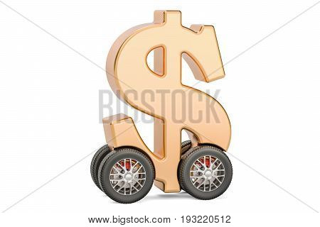 Dollar symbol on car wheels 3D rendering isolated on white background