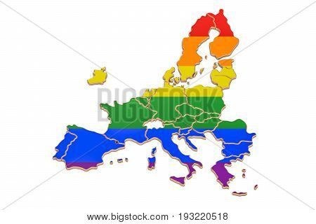 EU map with LGBT flag 3D rendering