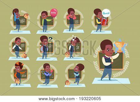 Small African American School Boy Standing Over Class Board Schoolboy Emotion Set Flat Vector Illustration