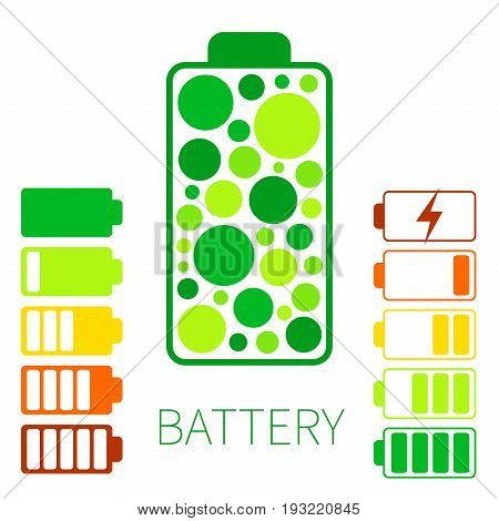 Set color battery icon. Charging and discharging of energy in battery.