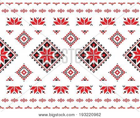 seamless pattern in Belarusian style. Repeating cross-stitch embroidered folk. vector seamless pattern for fabric. Embroidery for towels. Embroidery for towels red and black.