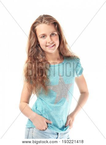 Cute teenager girl on white background