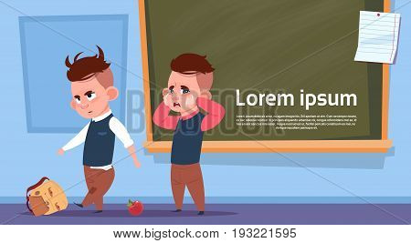 Hooligan Pupils In Class Room, Two Bad School Boys Over Chalk Board Flat Vector Illustration