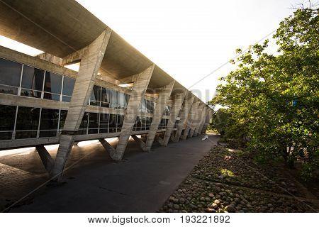 Rio de Janeiro, Brazil - June 27, 2017: Museum of Modern Art, designed by Brazilian architect Affonso Eduardo Reidy, and inaugurated in 1948.