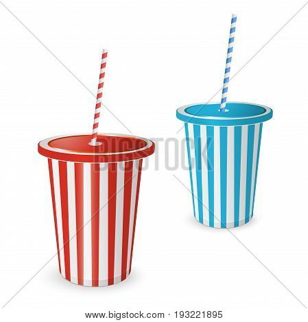 Collections Plastic fastfood cup for beverages with straw. Vector isolated on a white background. Red paper Cup for party.