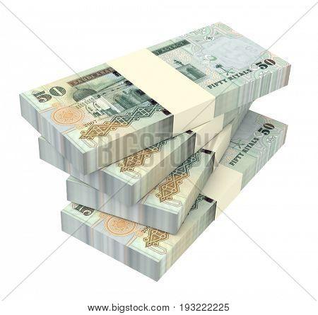 United Arab Emirates dirhams bills isolated on white background. 3D illustration.