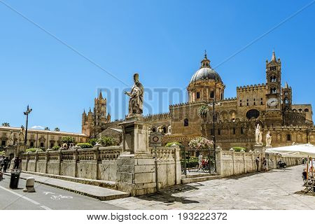 Palermo.Italy.May 26 2017.View of the historic centre and Piazza Duomo and Cathedral in Palermo. Sicily