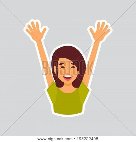 Girl Cheerful Raised Hands Sticker For Messenger, Label Icon Colorful Logo Vector Illustration