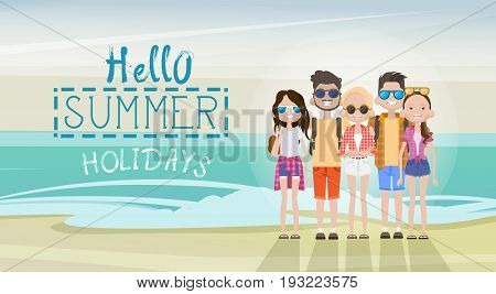 People Group On Summer Beach Vacation Concept Seaside Tropical Holiday Banner Flat Vector Illustration