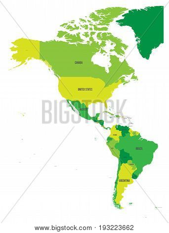 Political map of Americas in four shades of green on white background. North and South America with country labels. Simple flat vector illustration.