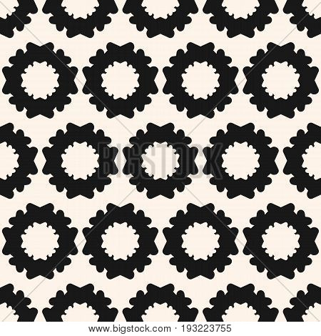 Simple floral geometric seamless pattern. Monochrome texture with flower silhouettes. Abstract geometrical repeat background. Design element for printing, embossing, decor, textile, furniture, fabric.