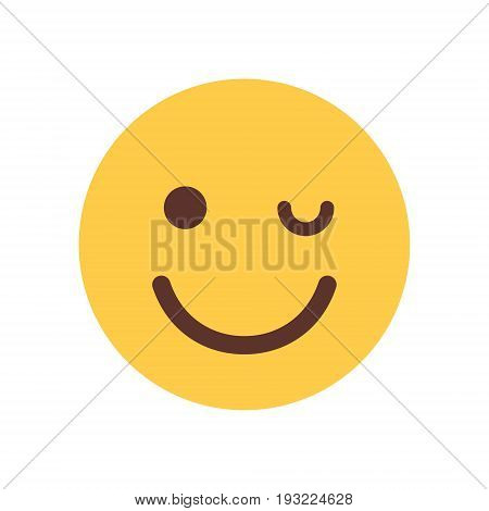 Yellow Smiling Cartoon Face Winking Emoji People Emotion Icon Flat Vector Illustration