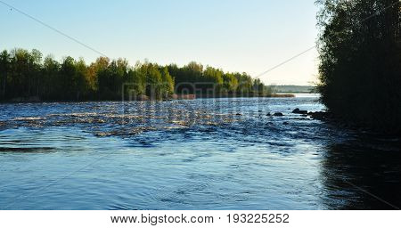 Treshold Padunets On The Burnaya River. Nature Of Leningrad Region