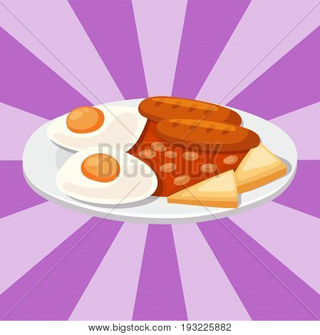 Smoke dried sausages with ketchup dish meat dinner cuisine delicious lunch pork meal barbecue vector illustration. Roasted gourmet nutrition cooking dinner fresh meal.
