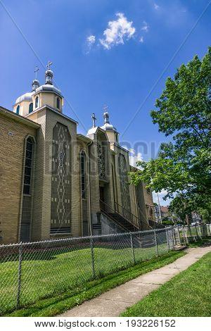Ukrainian Greek Catholic Church against the beautiful sky. Rochester USA