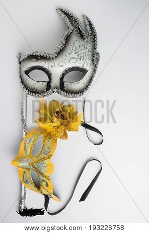 Colorful carnival mask on white background. Theater mask
