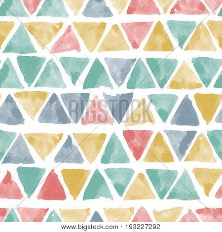 Seamless vector pattern with hand drawn watercolor triangles. Vector seamless background.Naive background with spots.