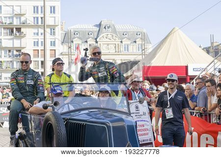LE MANS FRANCE - JUNE 16 2017: Nicki Thiim Richie Stanaway Marco Sorensen Aston Martin racing team. Parade of pilots racing 24 hours in Le mans France