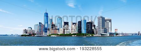 Panorama of Landmark New York City Manhattan Skyline and World Trade Center Freedom Tower.