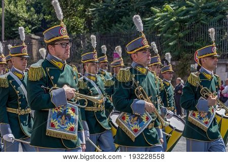 ROME ITALY - JUNE 2 2017: Military parade at Italian National Day. Soldiers with musical instruments in formation. Picture is taken between Piazza Venezia and Teatro di Marcello.