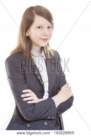 Calm and relaxed teen high school student isolated