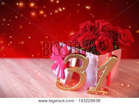 birthday concept with red roses in the gift on wooden desk. 3D render - thirty-first birthday. 31st