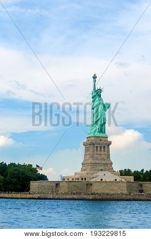 Statue of Liberty on Liberty Island in New York Harbor in New York City in the United States.